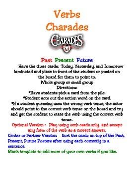 Verbs Past Present Future Charades