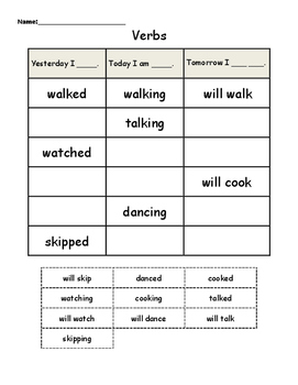 Verbs - Past, present, future (Cut and Paste)