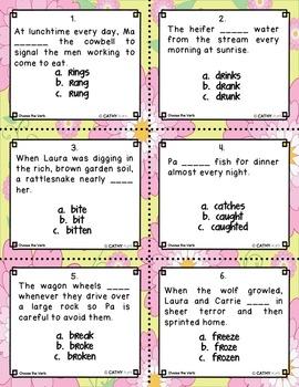 Verbs, Past vs Present, Center Work, Context Clues, Writing, Novel Themed