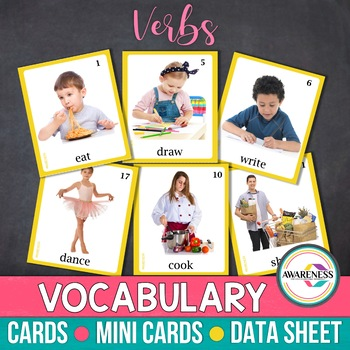 Verbs Flashcards: Photo Cards Vocabulary for Speech Therapy & Autism