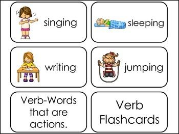 Verbs Picture Word Flash Cards.