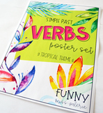 Verbs Poster Set - Tropical Theme - (Simple Past)