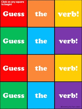 FREEBIE! Action Verbs -  PowerPoint Game Hide and Reveal