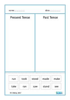 Verbs Present Past Tense Cut Paste Autism Special Education
