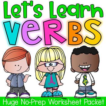 Verbs Printable Worksheet Pack - Kindergarten First Second Grade