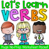Verbs Printable Worksheet Pack - Kindergarten First Second Grade