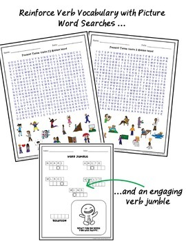 Verbs Puzzle Pack ESL ELL EFL Newcomer and Intermediate Levels