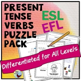 ESL Activities: Verbs Puzzle Pack ELL EFL Newcomer and Intermediate Levels