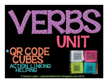 Verbs QR Code Writing Activity Cubes