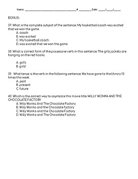 Verbs Quiz - Action Linking Helping Main