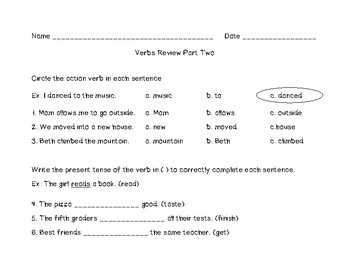 Verbs Review Part Two