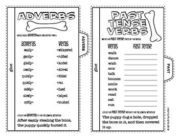 Verbs - Review Tabs (action, adverbs, past tense, present tense, future tense)