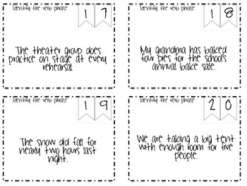 Verbs Scoot Task Cards