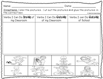 Verbs Signs & Interactive Journal Activities Foldables