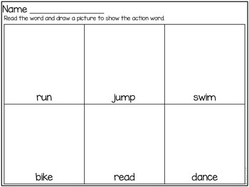 Verbs- Sort, Match, and Printables