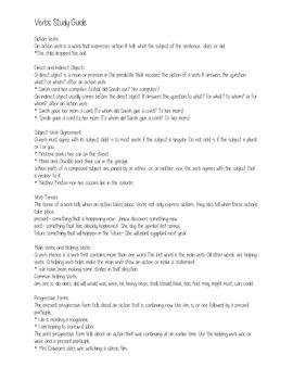 Verbs Study Guide