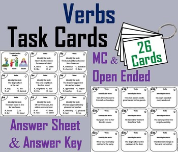 Verbs Task Cards 3rd and 4th Grade