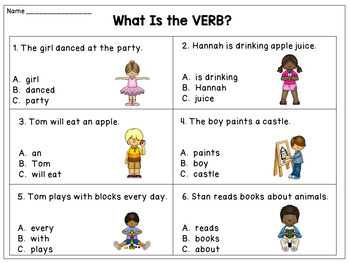 Verbs Task Cards and Worksheets