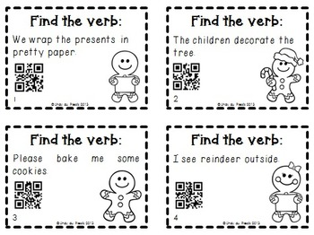 Verbs Task Cards & QR Codes  {Winter Holiday Fun!}