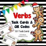 Action Verbs Task Cards & QR Codes Christmas Theme