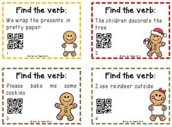 Action Verbs Task Cards & QR Codes Christmas Theme