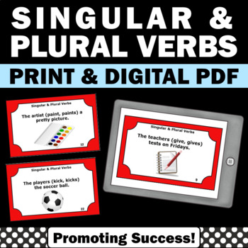 Singular and Plural Verbs Activities, Verb Task Cards, Parts of Speech Review