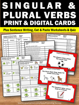 and Plural Verbs Task Cards, Verb Worksheets, Grammar Cut and Paste