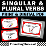 Singular and Plural Verbs Task Cards, Verb Worksheets, Grammar Cut and Paste