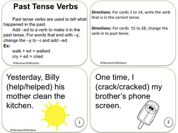 Past Present Future Tense Verbs Task Cards Literacy Centers ESL Speech Therapy