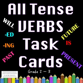 Past Present Future Tense Verbs Task Cards Literacy Center