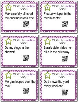 Verbs Task Cards with QR Codes