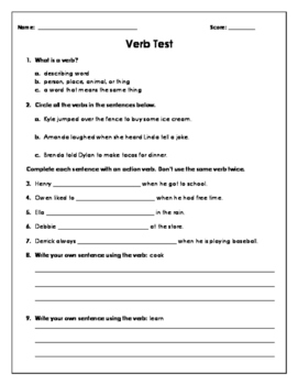 Action Verbs Test