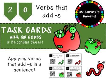 Verbs That Add -s QR Code Task Cards