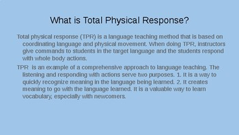 Verbs: Total Physical Response Exercise