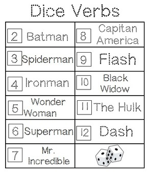 Verbs Unit (Action Verbs-Superhero Theme)