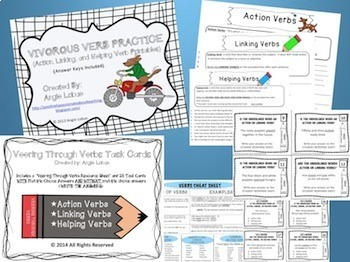 Verb Task Cards and Printables Bundle {Action, Helping, & Linking Verbs}