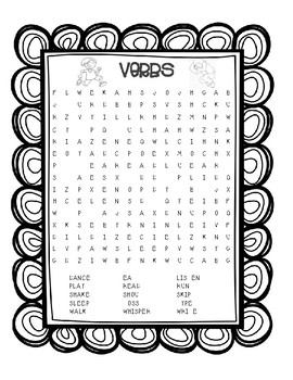 Verbs Word Search - Parts of Speech
