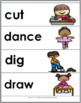 Verbs Word Wall - 100 Illustrated Action Verbs - Parts of Speech