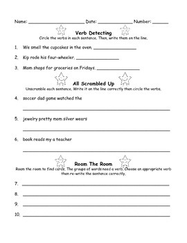 Verbs Worksheet and Activity