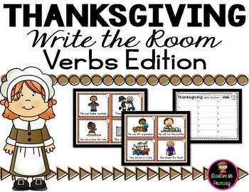 Verbs - Write the Room - Thanksgiving