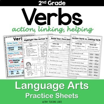 Verbs (action, helping, linking) Common Core NO PREP Practice Sheets