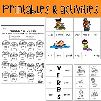 Verbs: activities, mini lessons, printables and sentence practice