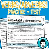 Verbs and Adverbs Grammar Worksheet Packet + Test