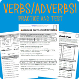 Verbs and Adverbs Grammar Worksheet Packet + Test