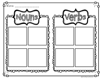Verbs and Nouns Brochures and Activities