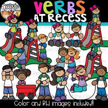 Verbs at Recess Clipart {Verbs Clipart}