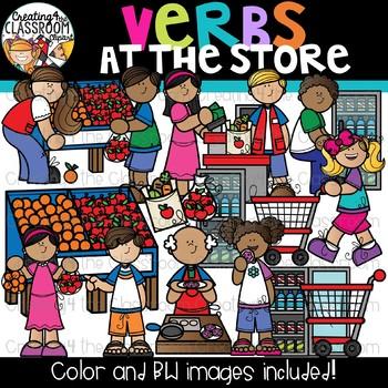 Verbs at the Store Clipart {Verbs Clipart}