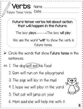 Verbs for Beginners Practice Sheets