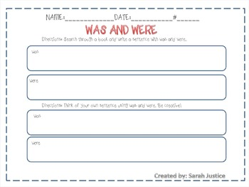 Verbs ( forms of be/ using was and were) interactive power-point and activity