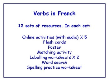 Verbs in French Bundle - Worksheets, Games, Activities & More (with audio)